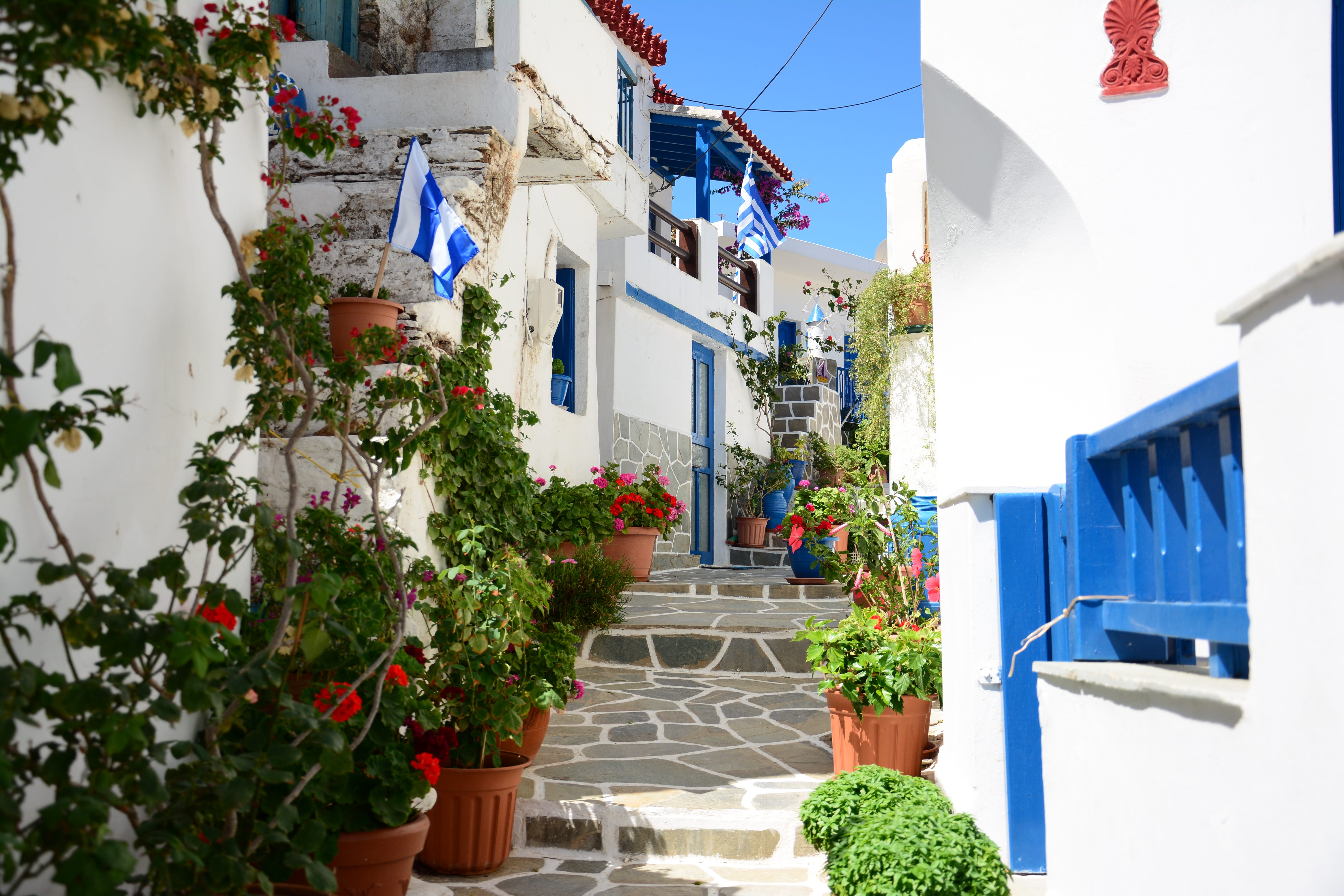 The colorful village of Driopida is the old capital of the island, filled with traditional coffeehouses and restaurants where locals congregate.