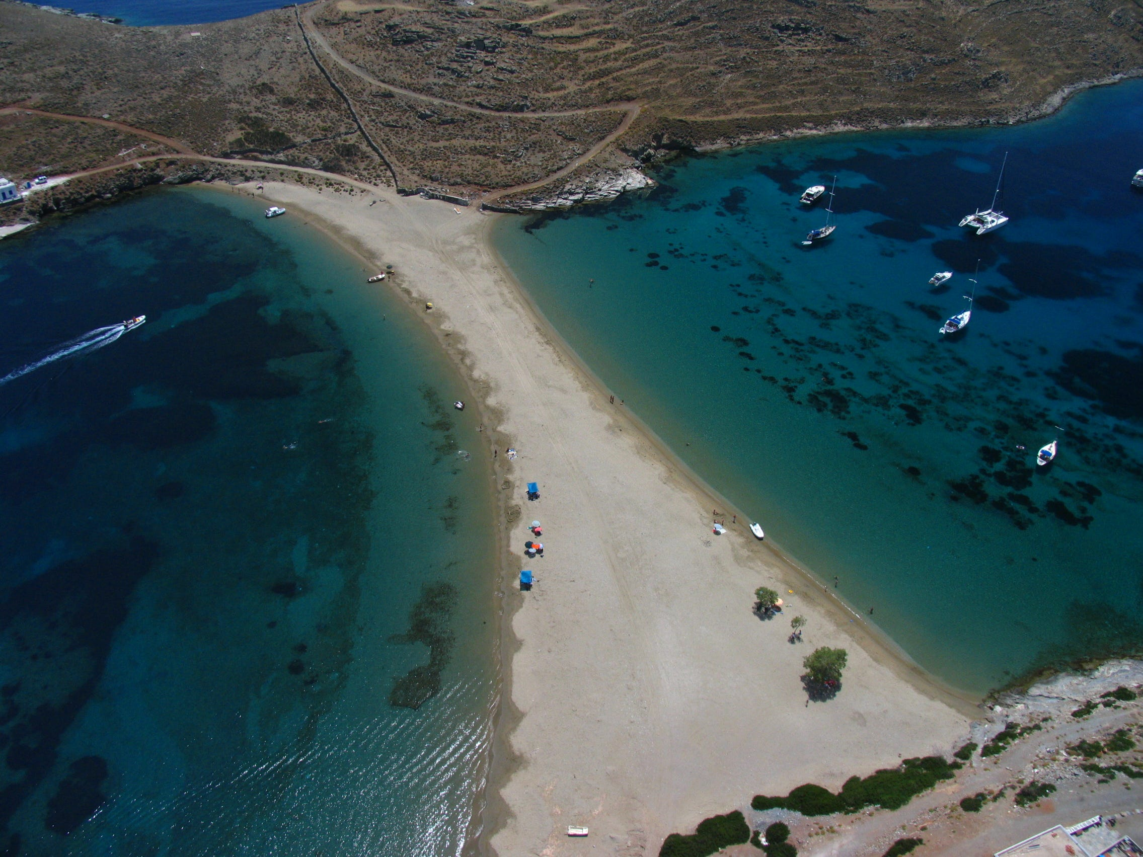 Kythnos offers some of the most isolated beaches in all of the Cyclades. The most eye-catching beach on the island is the double-sided Kolona.