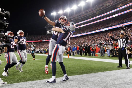 Jan. 21: New England Patriots wide receiver Danny Amendola (80) celebrates his touchdown with wide receiver Chris Hogan (15) during the fourth quarter against the Jacksonville Jaguars in the AFC Championship Game at Gillette Stadium.