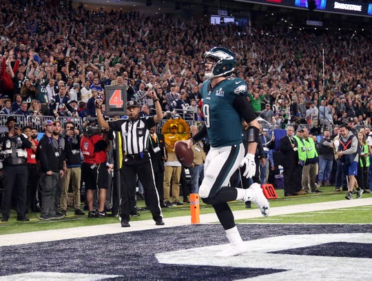 "Nick Foles catches the ""Philly Special"" touchdown against the Patriots during the second quarter in Super Bowl LII."