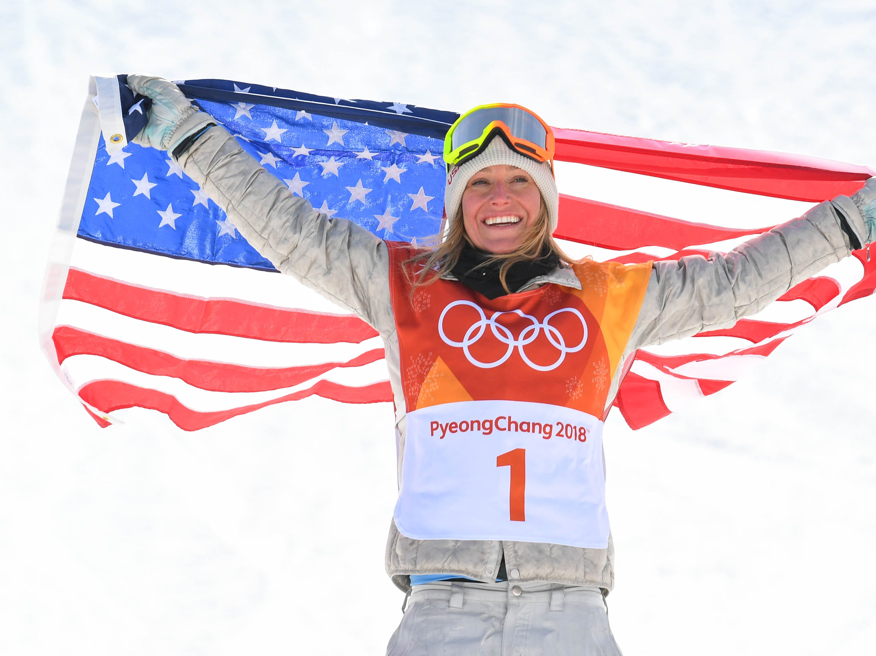 Feb. 12: Jamie Anderson (USA) celebrates winning gold in the snowboard slopestyle final during the Pyeongchang Winter Games.