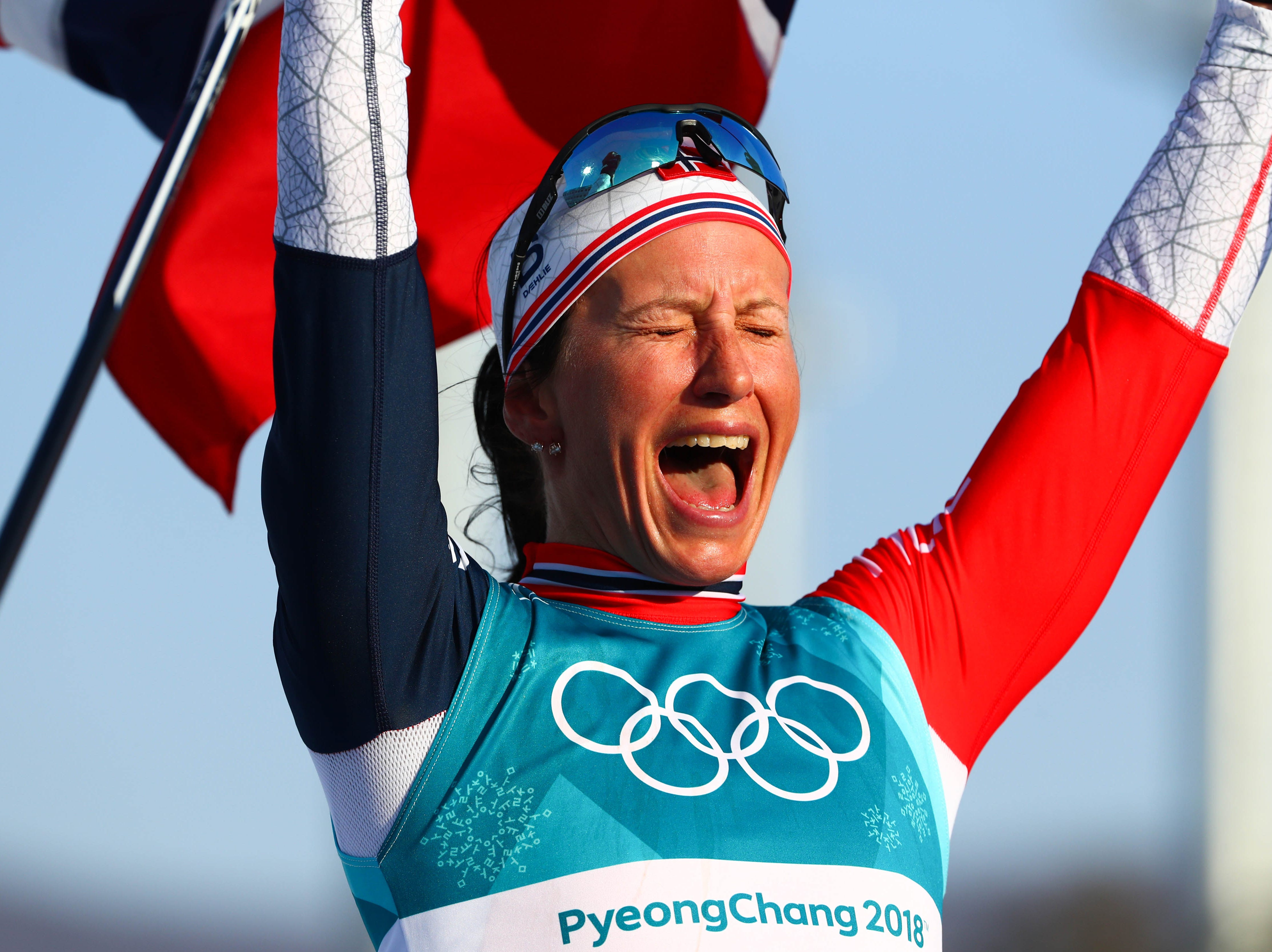 Feb. 25: Marit Bjoergen (NOR) reacts at the finish line in the women's 30km classic style cross country event during the Pyeongchang Winter Games.