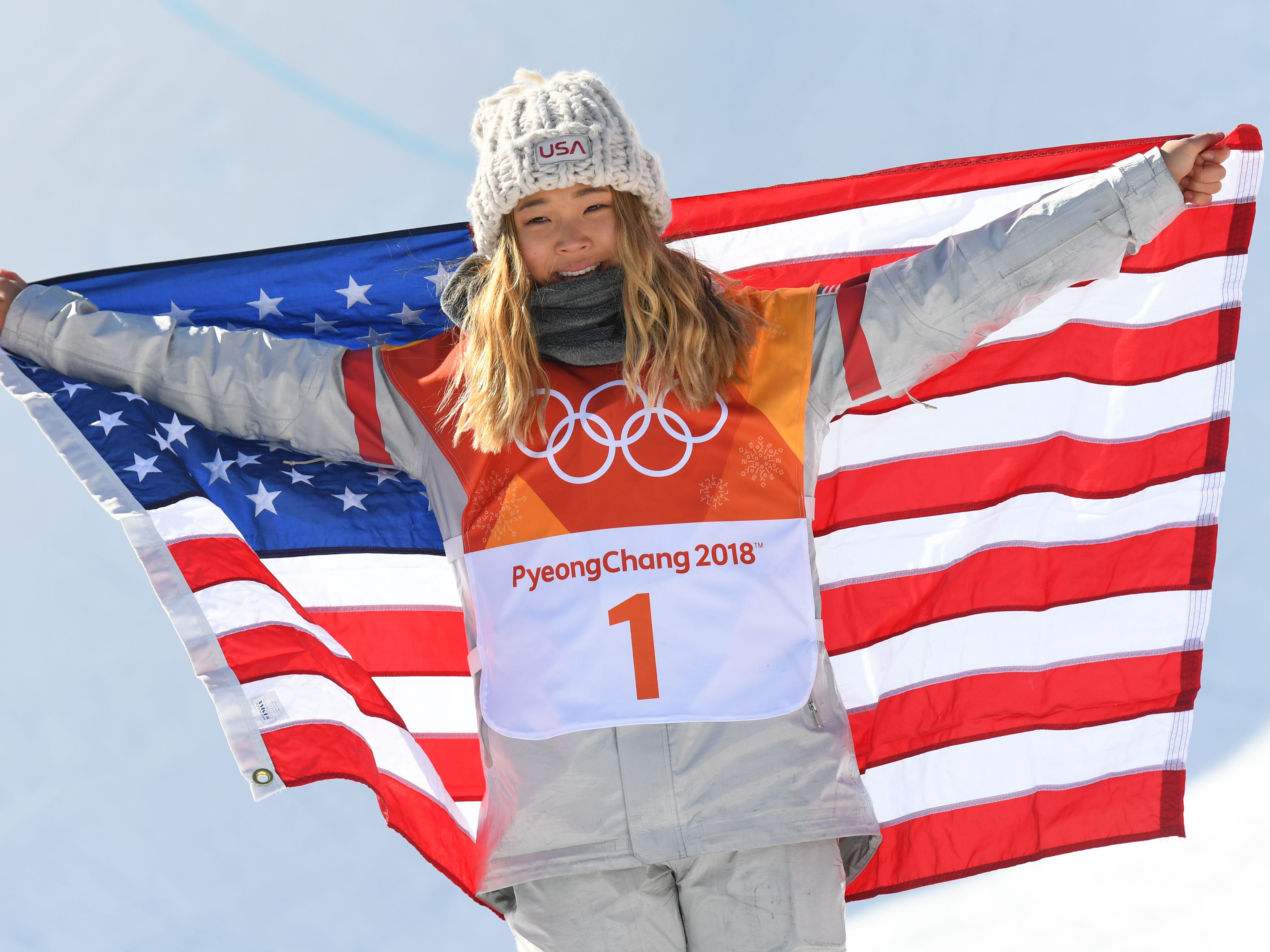 Feb. 13: Chloe Kim (USA) celebrates after winning gold in the halfpipe event during the Pyeongchang Winter Games.