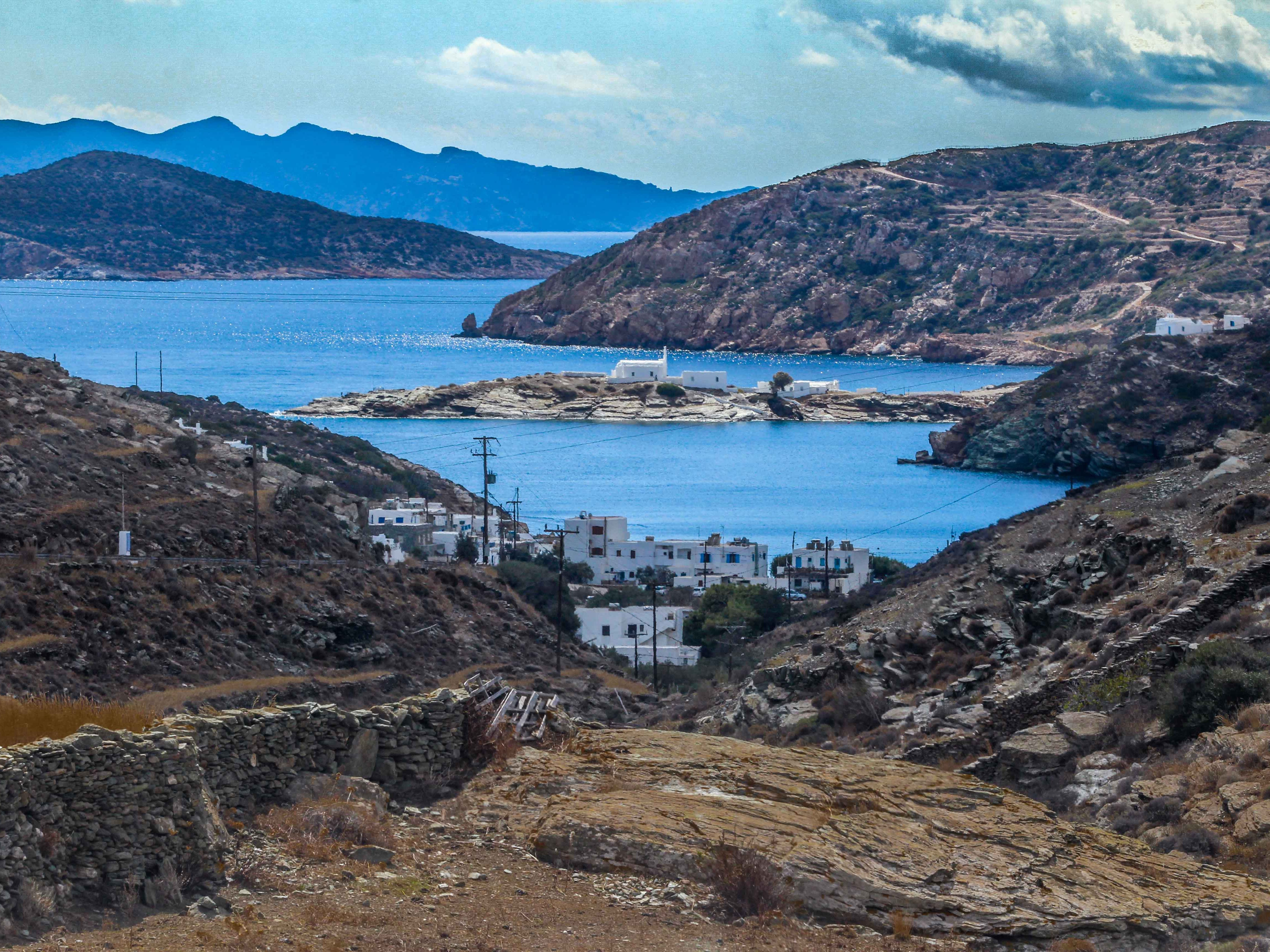 Everywhere you turn on Sifnos dramatic views abound. On the road to Platis Gialos, the rugged terrain and contrast of colors create an eye-popping photo opportunity at dusk.