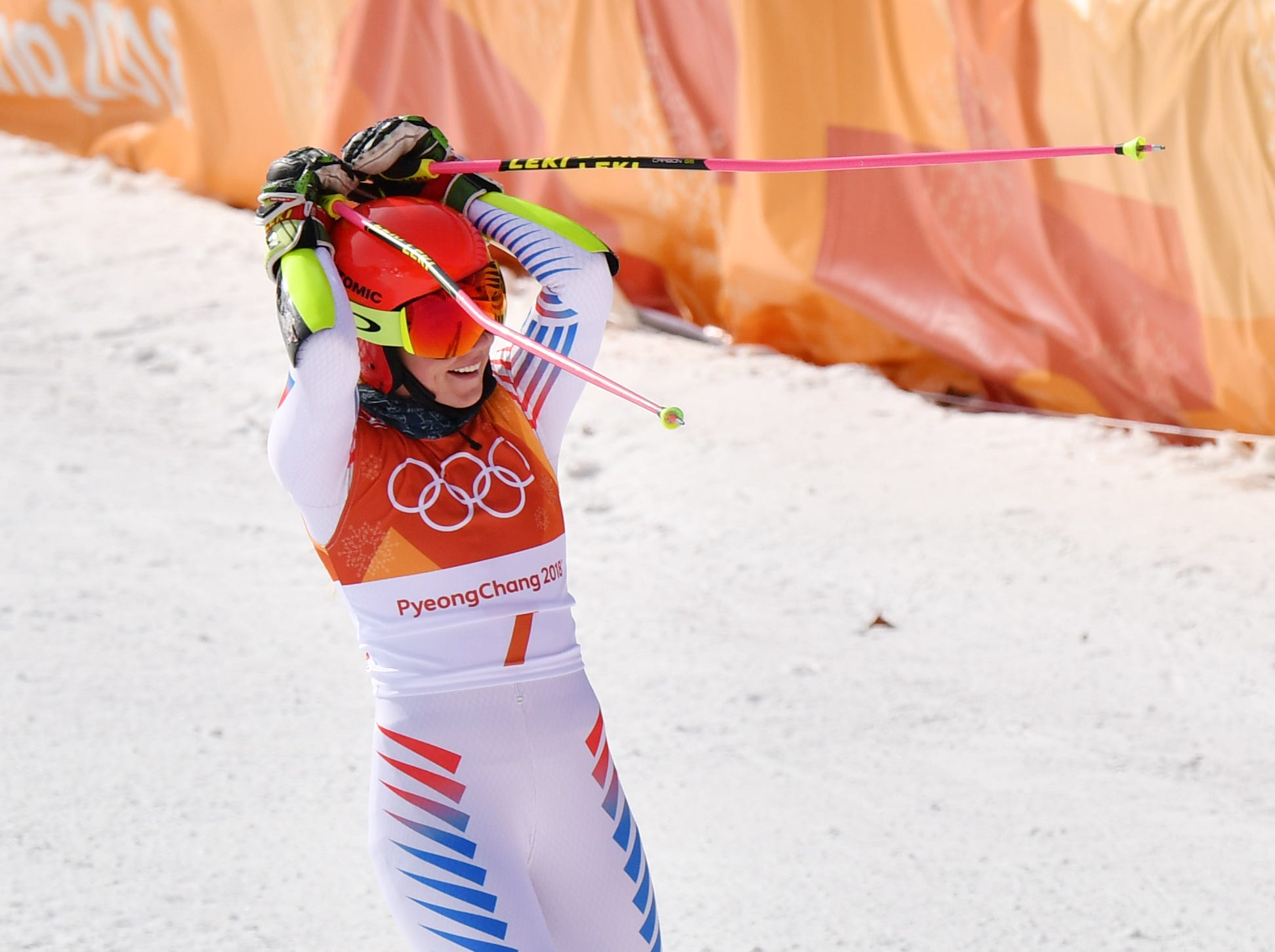 Feb. 15: Mikaela Shiffrin (USA) celebrates in the finish area after the second run of the women's alpine skiing giant slalom in Pyeongchang. She took gold in the event.