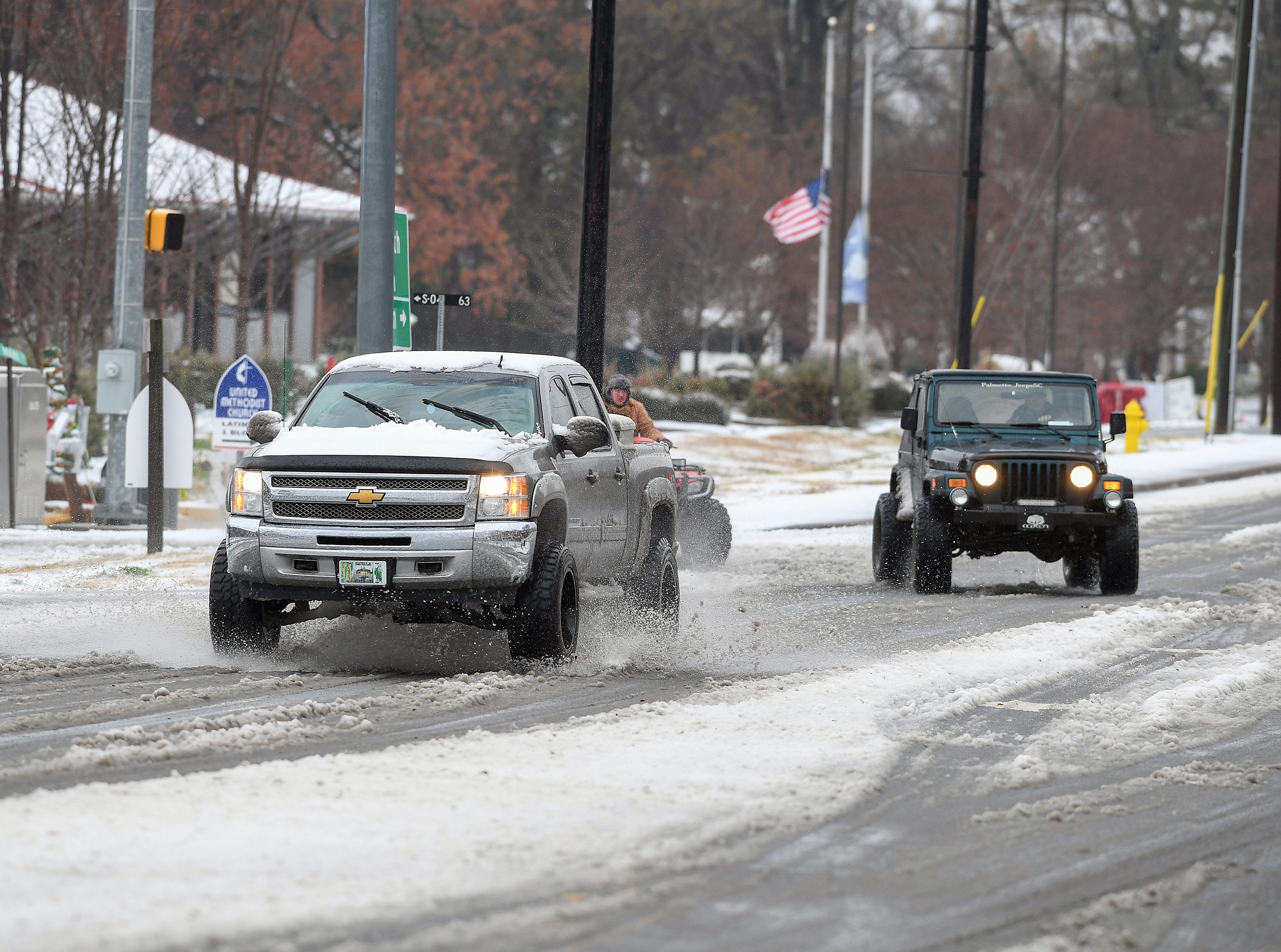 Main Street in downtown Belton after a layer of sleet fell early Sunday December 9, 2018.
