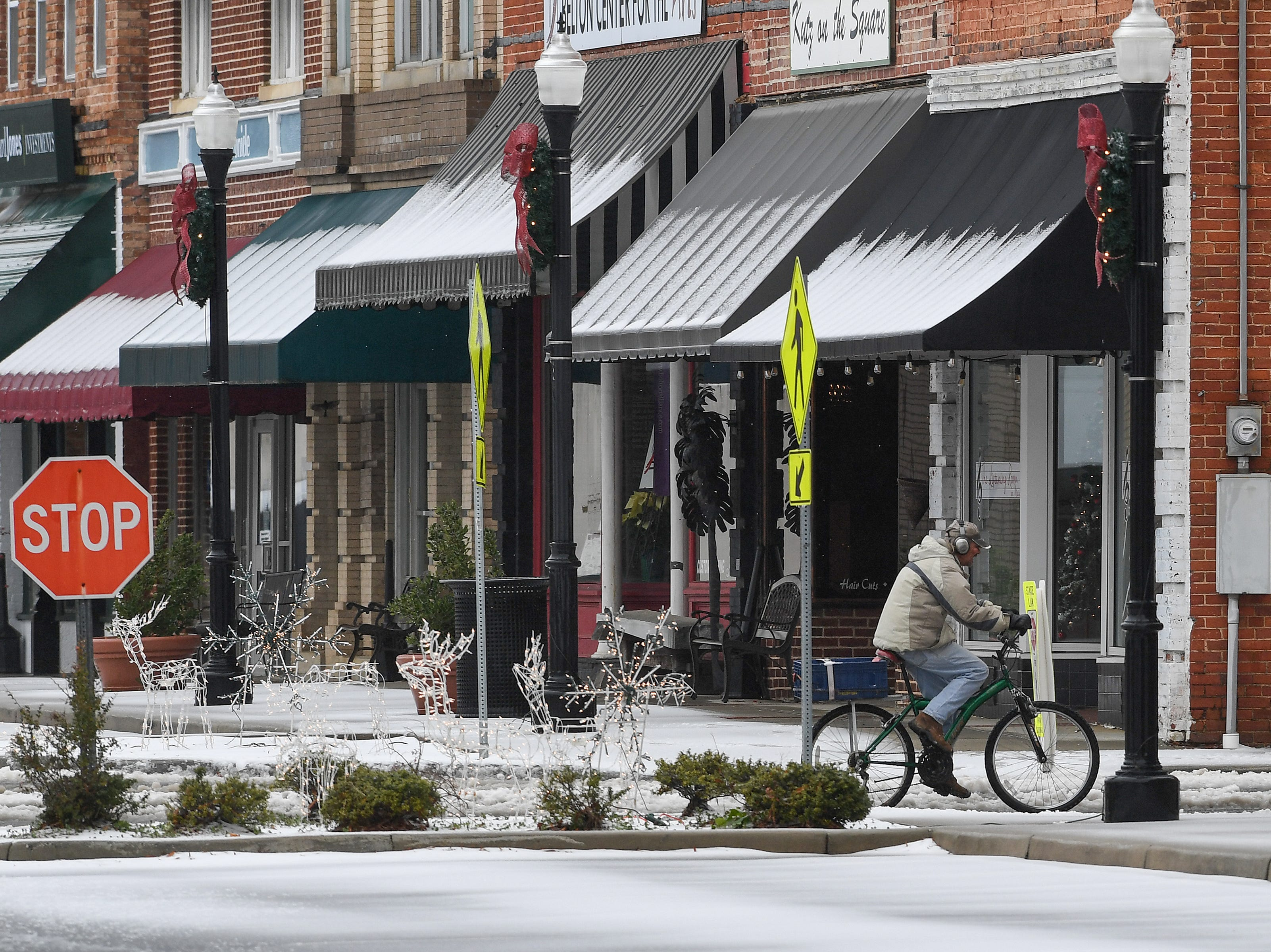 Downtown Belton after a layer of sleet fell early Sunday December 9, 2018.