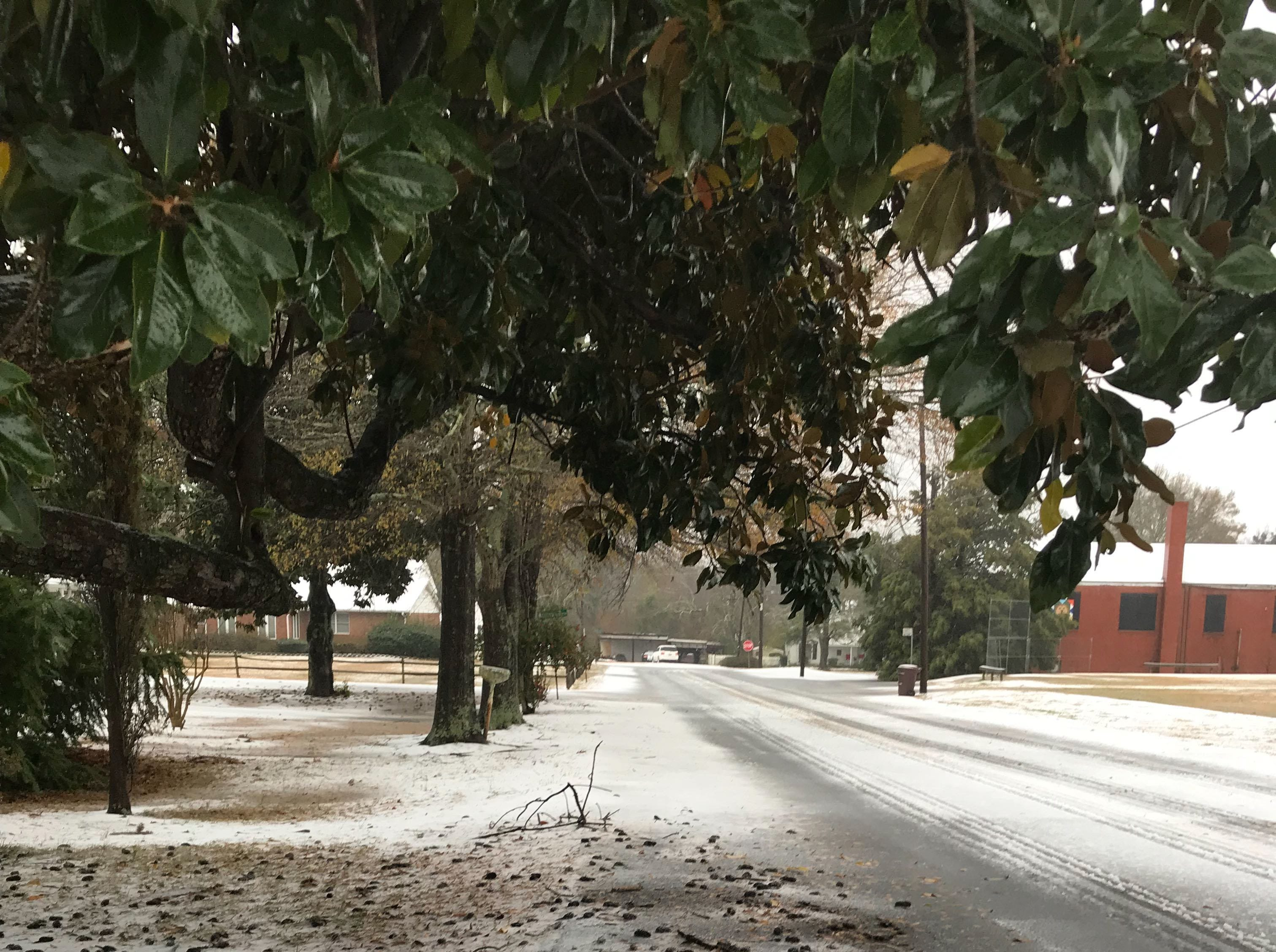 Sleet coming down hard early on Sunday, Dec. 9, 2018, in Pendleton.