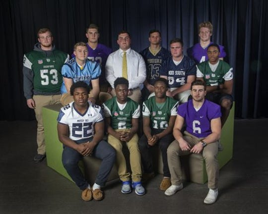 The 2018 Asbury Park Press All Shore Football Offensive First Team. SEATED:  Malik Ingram (Mater Dei Prep), Jermaine Corbett (Long Branch), Marc Dennis (Long Branch), Alex Maldjian (Rumson-Fair Haven). BACK ROW: Kevin Cerrruti (Long Branch), Colin Taptich (Freehold Township), Ryan McCann (Rumson-Fair Haven); Tommy Smith (Red Bank Catholic); Matt Krauss (Freehold); Brady Smith (Middletown South);  Ian O'Connor (Rumson-Fair Haven);  Matthew Clarke (Long Branch). (