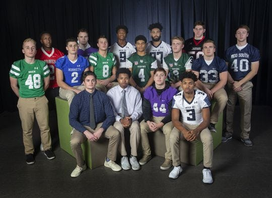 The 2018 Asbury Park Press All Shore First Team Defense. SEATED: Ryan O'Hara (Red Bank Catholic); Jaden Key (Red Bank Catholic); Keegan Woods (Rumson-Fair Haven); Clarence Lewis (Mater Dei Prep);  STANDING - Richie Tallmadge (Brick);  Da'Shon Taylor (Manalapan); Mack Byrne (Holmdel);  Henry Sulllivan (Rumson-Fair Haven); Jimmy Leblo (Brick); Shitta Sillah (Mater Dei Prep; Devyn Blount (Long Branch);  Izaiah Henderso (Mater Dei Prep); Luke Arnold (Long Branch); Collin McCarthy (Jackson Memorial);Canyon Birch (Manasquan);  Matt Tardy (Middletown South).