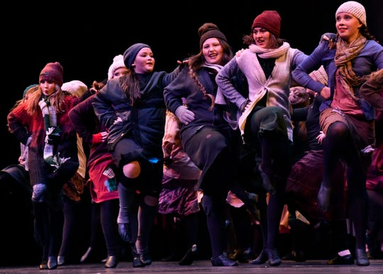 """Ladies dance during the first act in Friday's rehearsal of """"Once Upon a Christmas Eve."""" The holiday show was performed Saturday and Sunday by the Patty Harper Dance Studio at the Abilene Convention Center."""