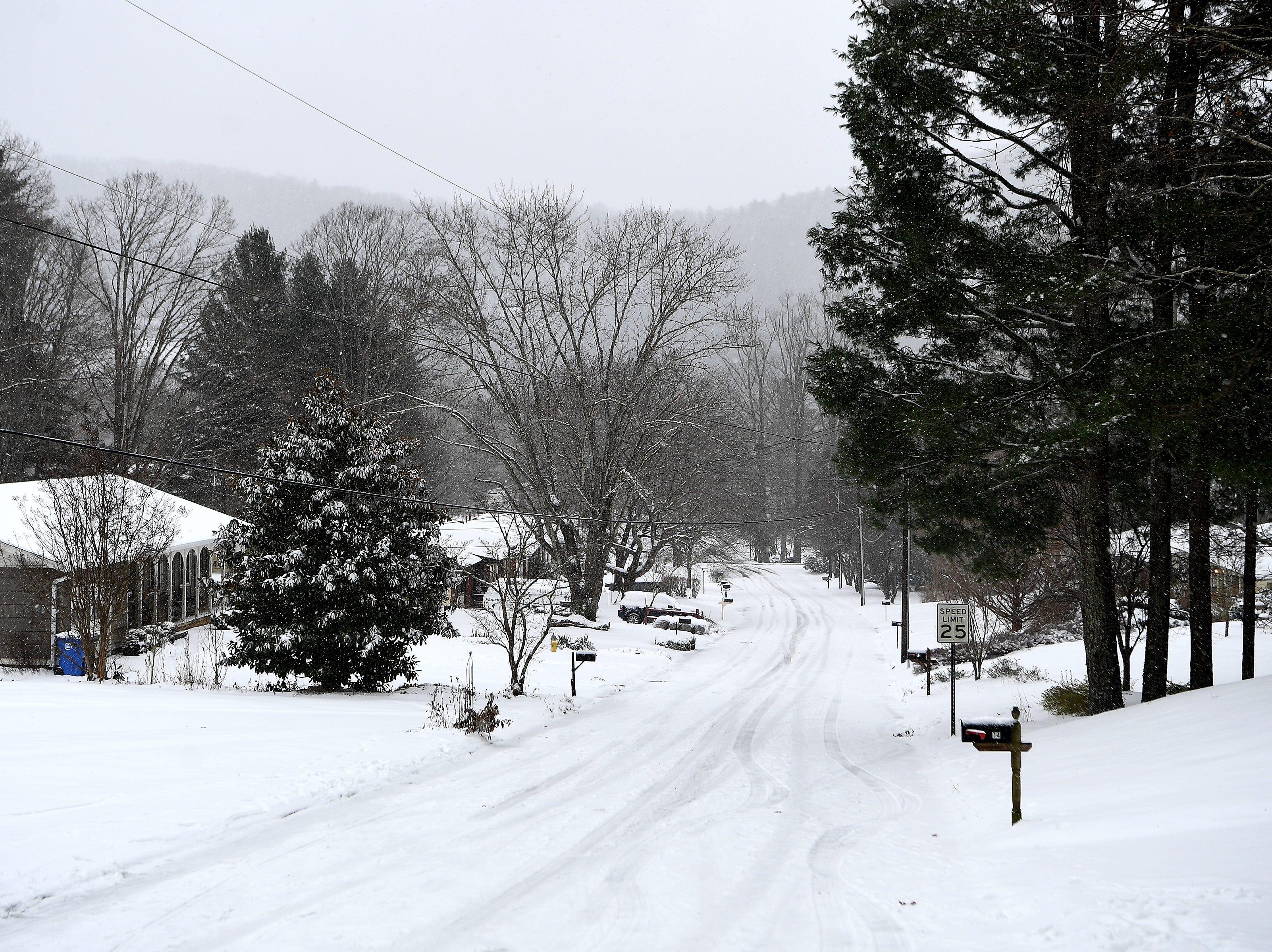 A snowy scene in Haw Creek on Dec. 9, 2018.