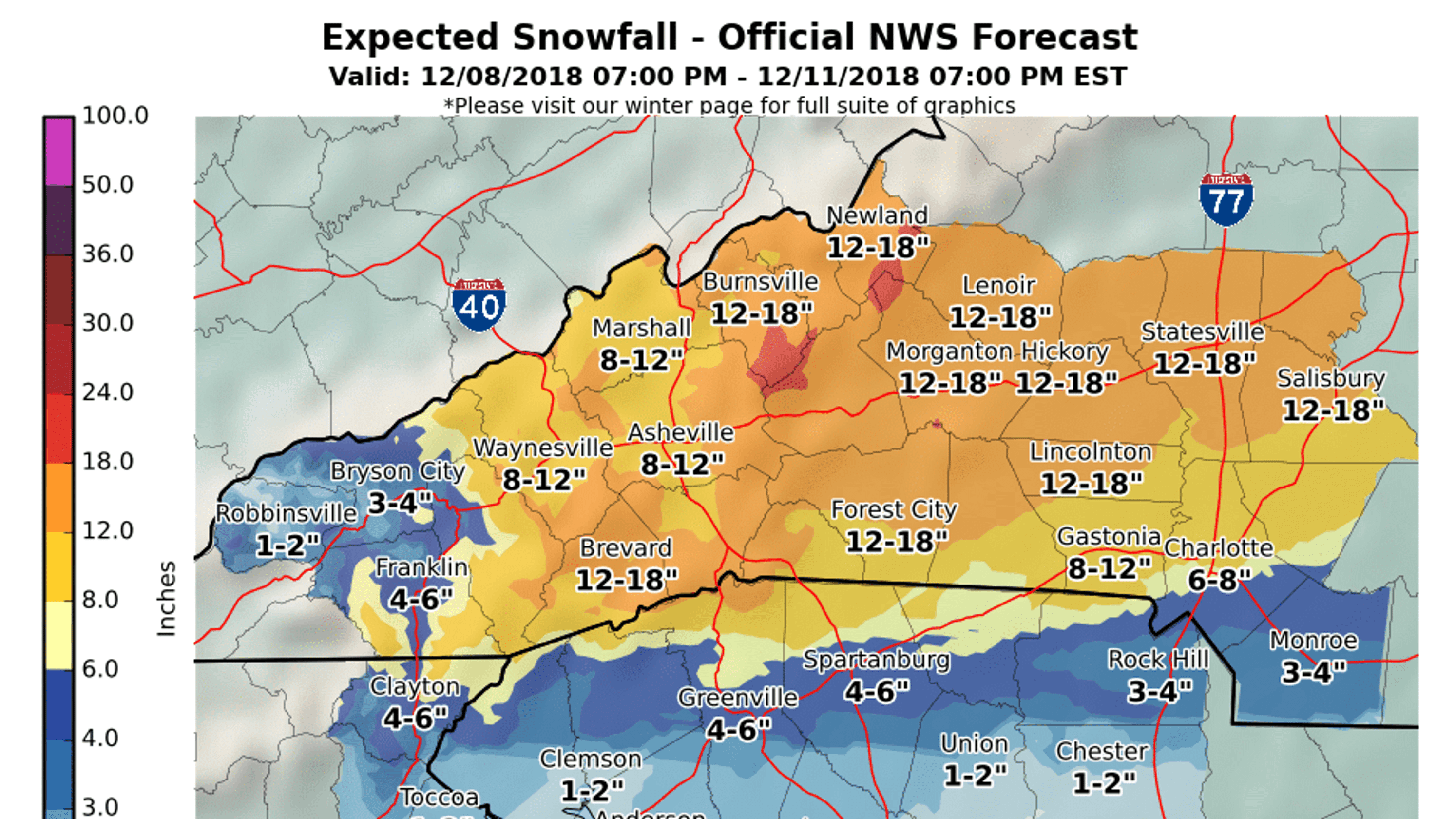 Saay Asheville snow forecast: 'A ton of moisture' on map of wingate university, map of lenoir city, map of matthews, map of buncombe county, map of brookings, map of beatrice, map of kenansville, map of otto, map of great smoky mountain railroad, map of chimney rock state park, map of whiteville, map of burgaw, map of easley, map of shaw university, map of north palm beach county, map of eatonton, map of cornelia, map of carlinville, map of kernersville, map of north carolina,