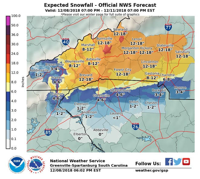 This map shows how much snowfall the National Weather Services expects to accumulate, beginning at 7 p.m. Saturday.