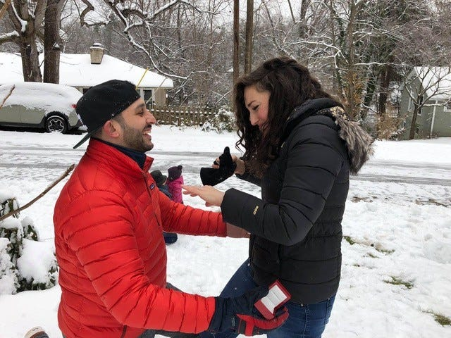 Arun Rubenstein used the weekend's massive snowstorm as a backdrop for a wedding proposal to his girlfriend, Elyse Kline, on Sunday. She said yes.