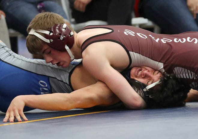 South Kitsap wrestler Xavier Eaglin (top) is a returning champion at the HammerHead Invitational tournament. The two-day event begins Friday morning at the Kitsap Sun Pavilion at the Fairgrounds.