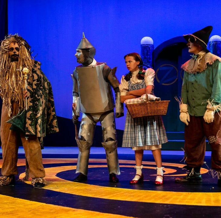 """From left, Matty McCaslin, Jon Payne, Emily Fox and Shane Patrick Hoffmann in """"The Wizard of Oz,"""" which continues through Dec. 22 at Bainbridge Performing Arts."""