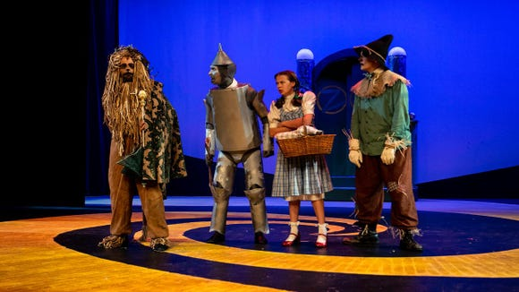 "From left, Matty McCaslin, Jon Payne, Emily Fox and Shane Patrick Hoffmann in ""The Wizard of Oz,"" which continues through Dec. 22 at Bainbridge Performing Arts."