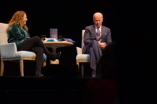 Former Vice President Joe Biden discusses his book, Promise Me, Dad, with New Hampshire author Jodi Picoult at the Flynn in Burlington on Dec, 9, 2018