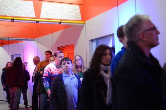 People wait in line at the Star Trek Original Series Set Tour for a photograph with William Shatner. Taken in Ticonderoga, New York, Dec.8, 2018.