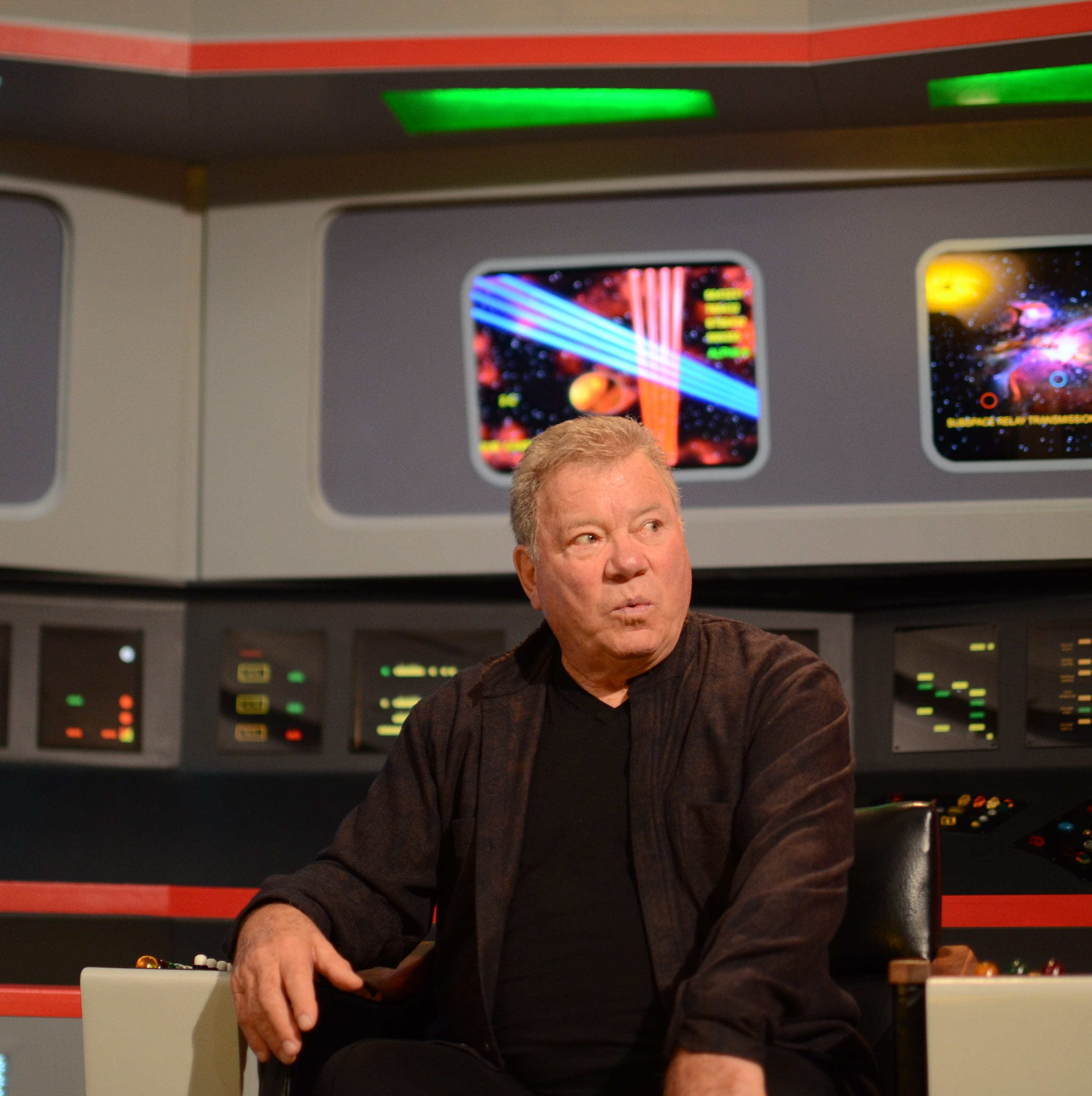 William Shatner and new captain Anson Mount visit the 'Star Trek' Enterprise replica