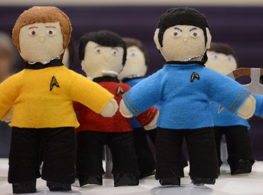 Stuffed Star Trek characters depict Captain Kirk and Spock at Ticonderoga High School, Dec. 8, 2018.