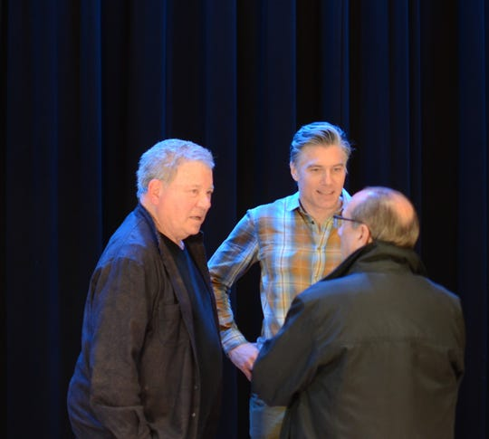 Actors William Shatner and Anson Mount spend time at Ticonderoga High School in New York, Dec. 8, 2018.