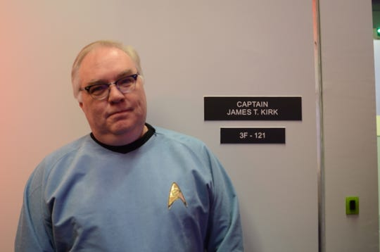 Star Trek fan Shaun King poses while in line to meet William Shatner, the actor who portrayed Captain Kirk. Taken in Ticonderoga, New York, Dec. 8, 2018.