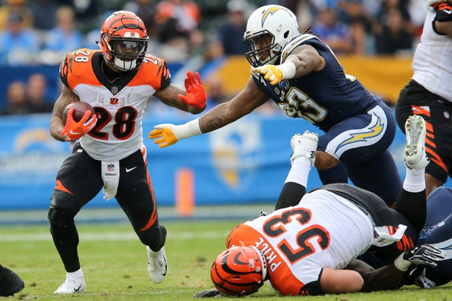 Cincinnati Bengals running back Joe Mixon (28) carries the ball as Los Angeles Chargers defensive tackle Darius Philon (93) defends in the second quarter of a Week 14 NFL football game, Sunday, Dec. 9, 2018, at StubHub Center in Carson, California.