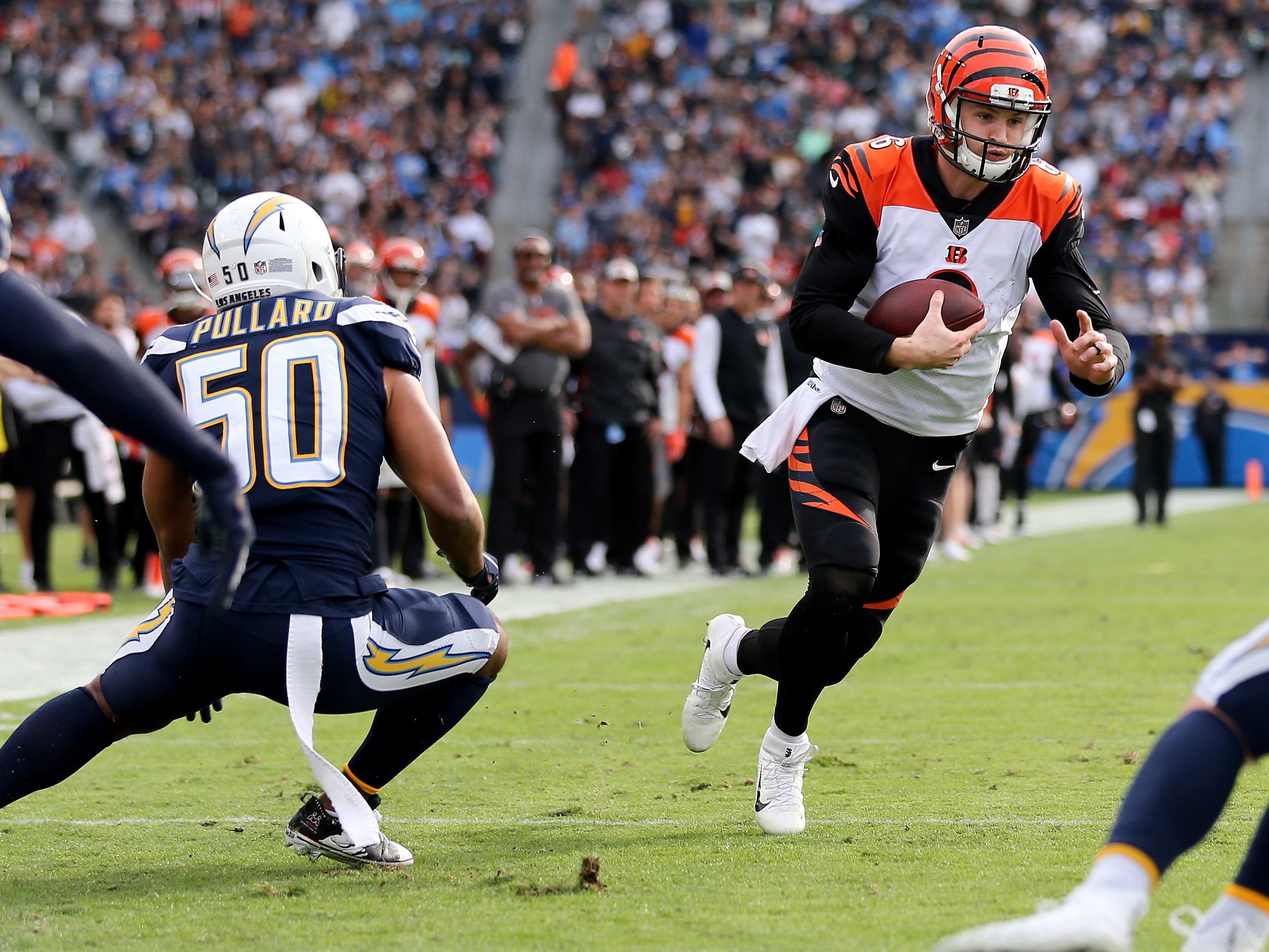 Cincinnati Bengals quarterback Jeff Driskel (6) runs for the end zone but was short of a touchdown in the second quarter of a Week 14 NFL football game against the Los Angeles Chargers, Sunday, Dec. 9, 2018, at StubHub Center in Carson, California.