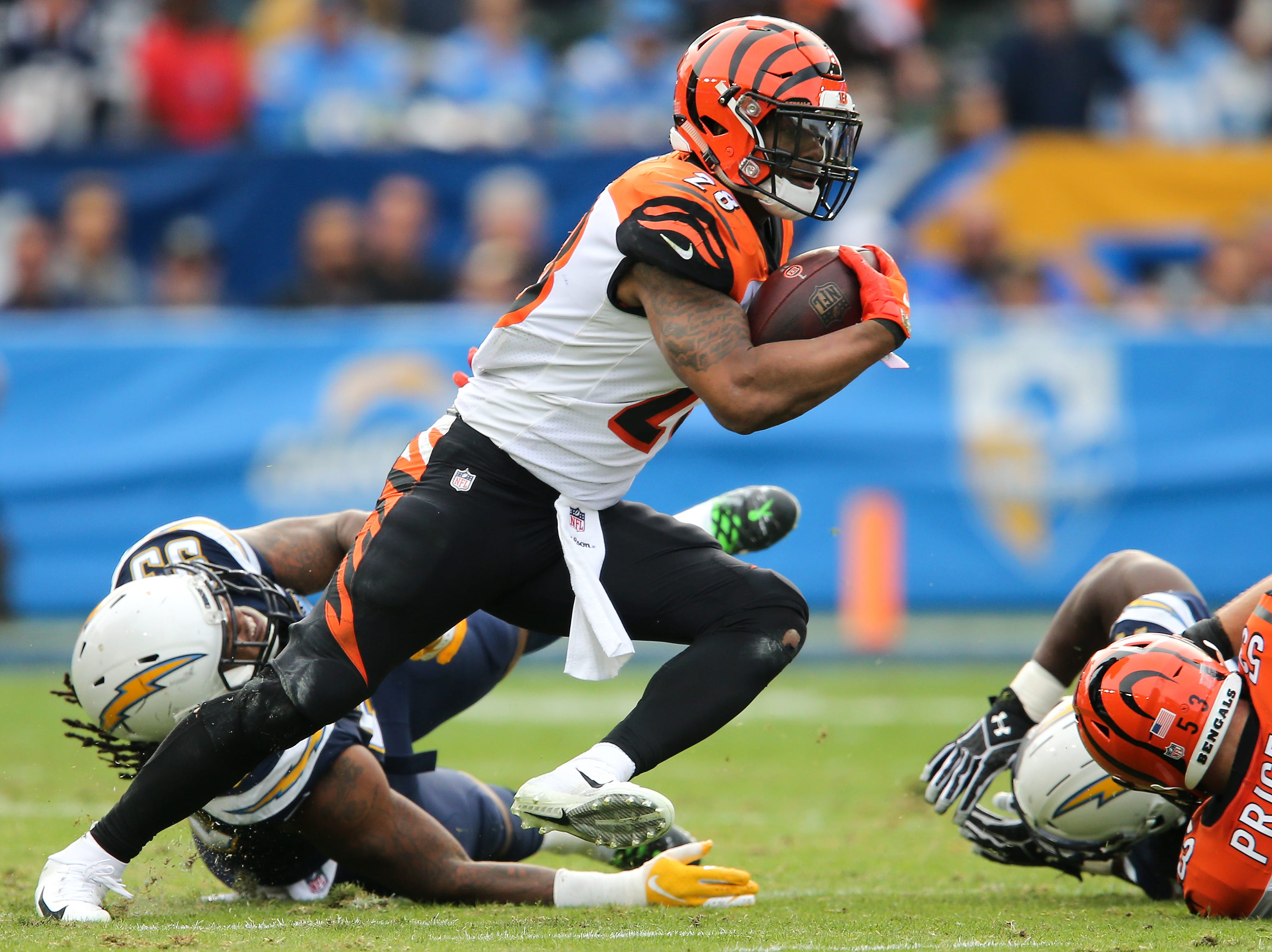 Cincinnati Bengals running back Joe Mixon (28) carries the ball in the second quarter of a Week 14 NFL football game against the Los Angeles Chargers, Sunday, Dec. 9, 2018, at StubHub Center in Carson, California.