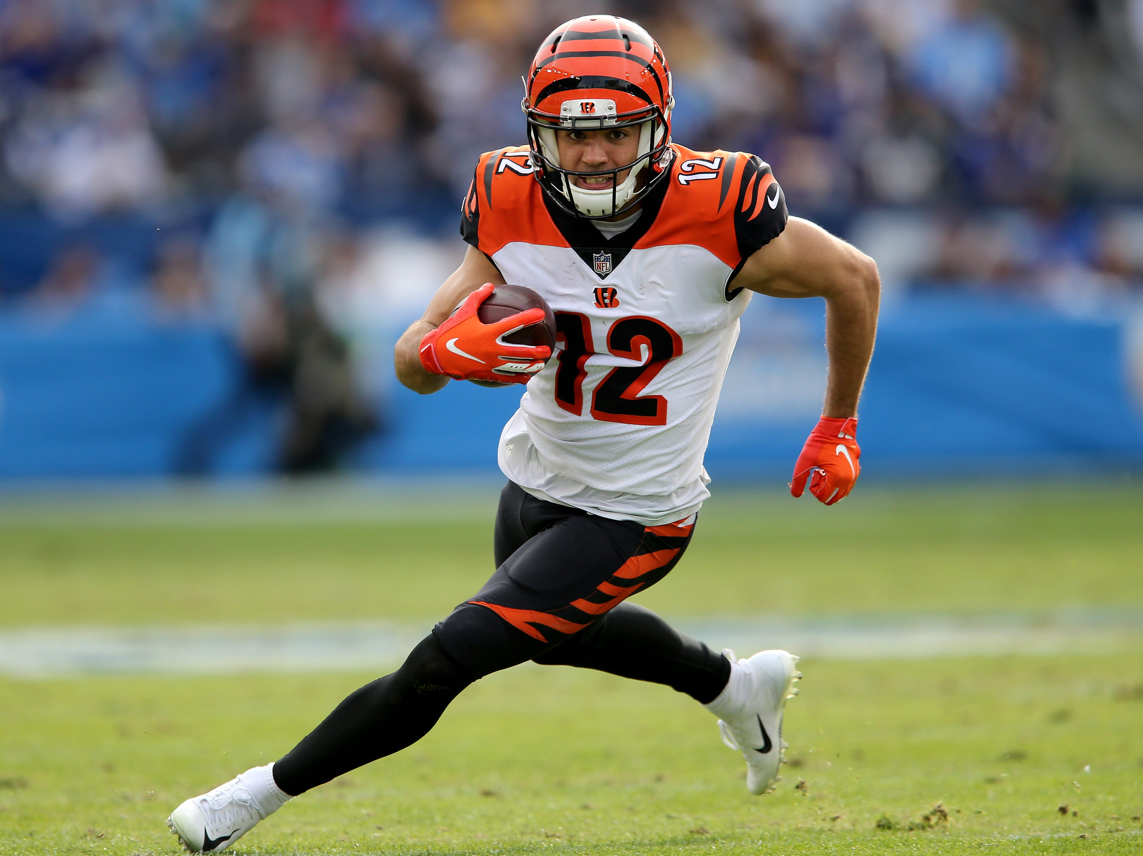Cincinnati Bengals wide receiver Alex Erickson (12) eyes the end zone on an end-around pass in the second quarter of a Week 14 NFL football game against the Los Angeles Chargers, Sunday, Dec. 9, 2018, at StubHub Center in Carson, California.