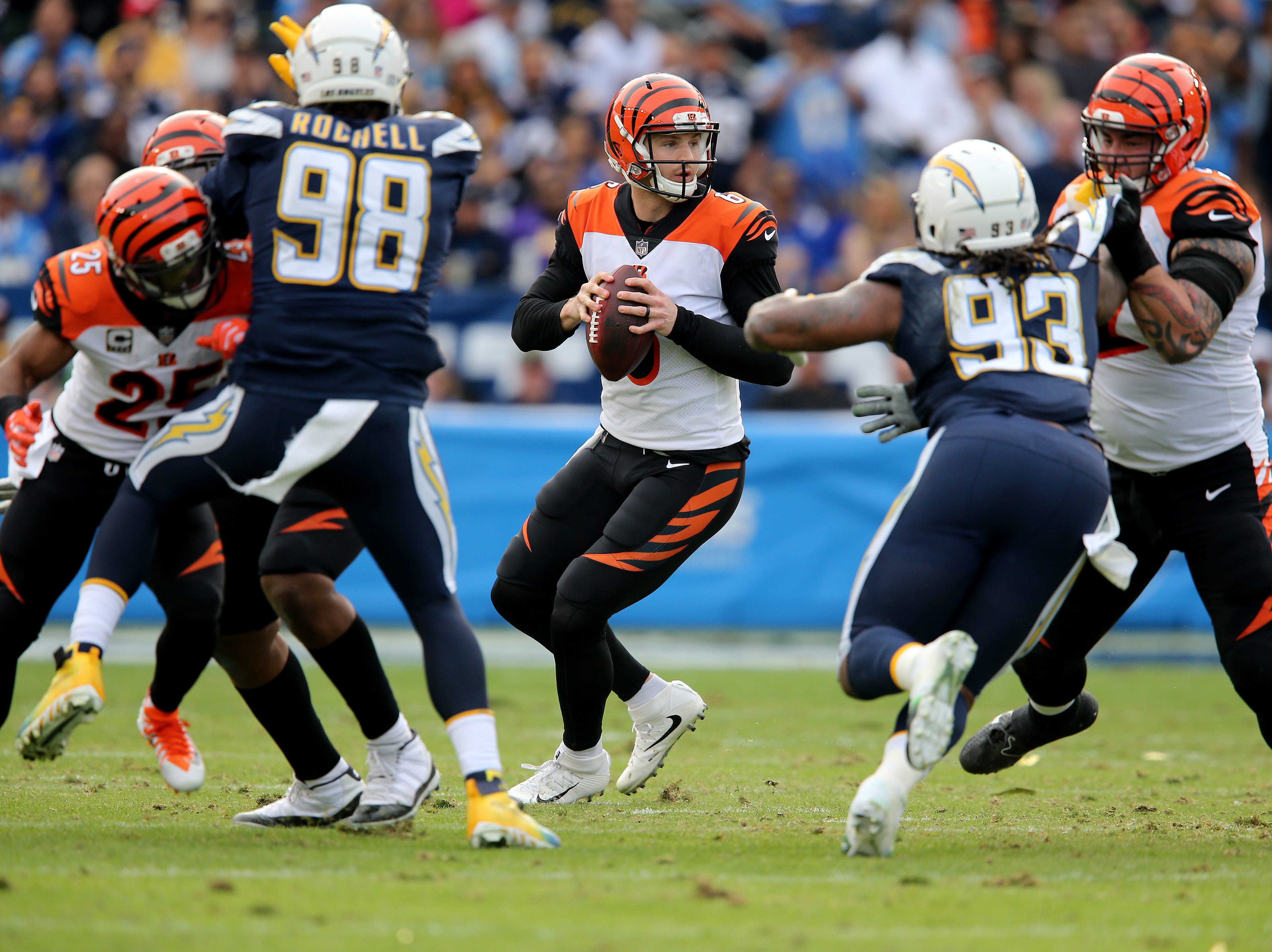 Cincinnati Bengals quarterback Jeff Driskel (6), center drops back to pass in the second quarter of a Week 14 NFL football game against the Los Angeles Chargers, Sunday, Dec. 9, 2018, at StubHub Center in Carson, California.