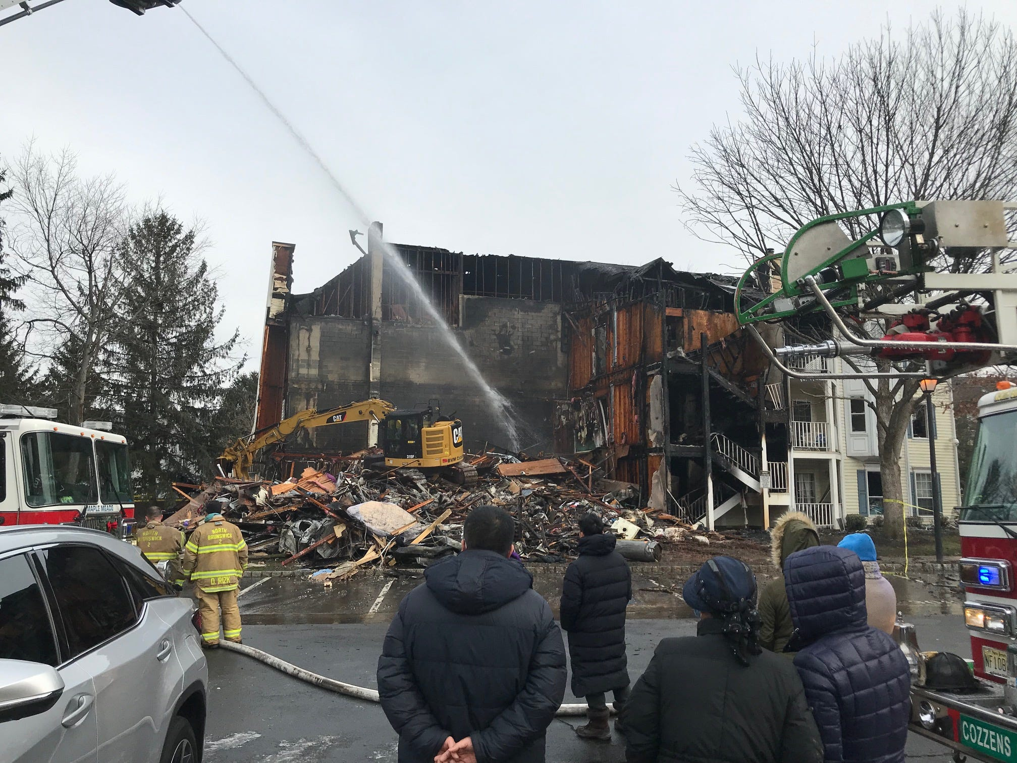 A Saturday night fire at Governor's Pointe Condominiums in North Brunswick gutted a 12-unit building leaving 28 people, including three children, displaced. The fire remains under investigation.