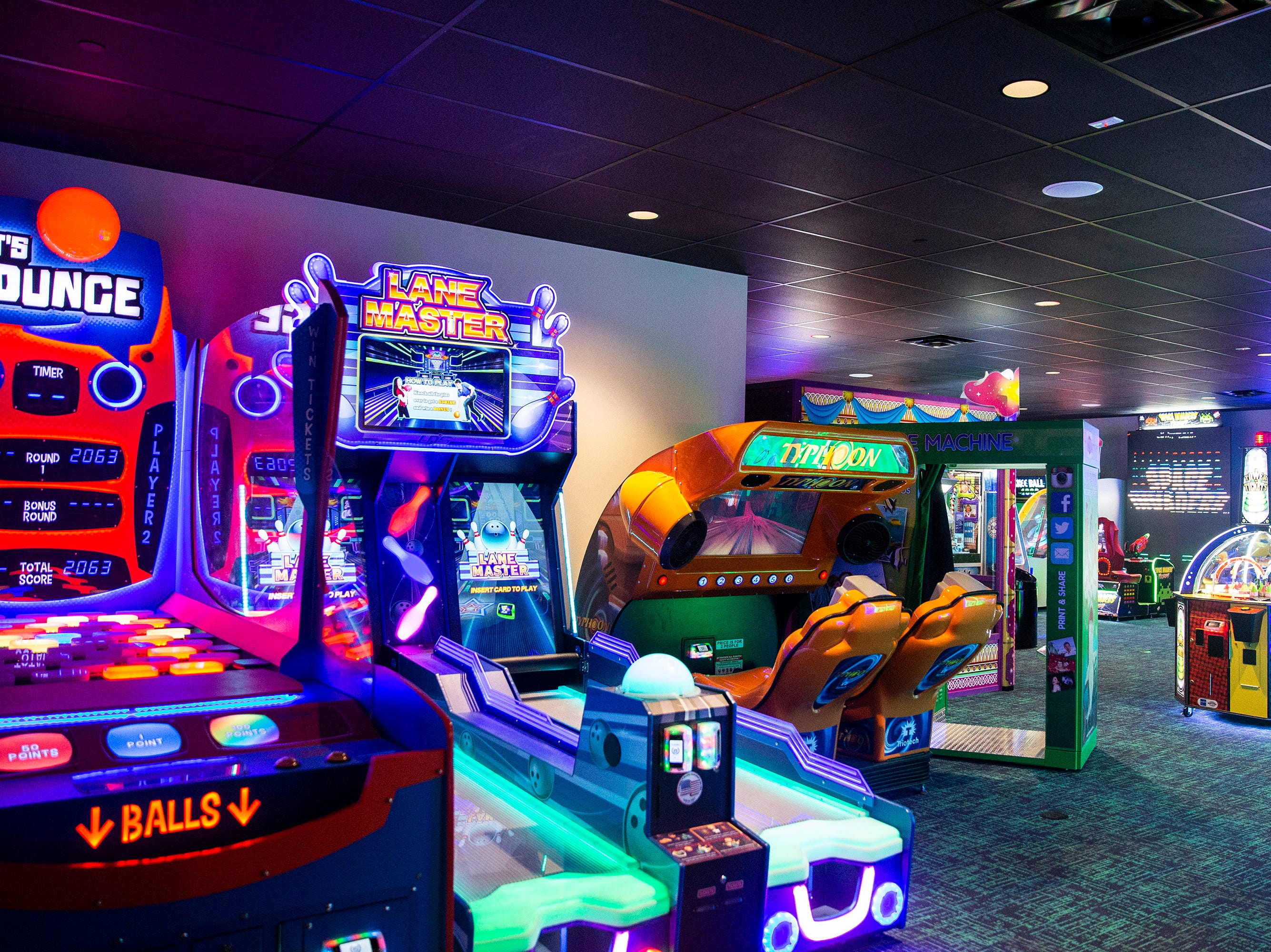 B & B Ankeny 12 & B-Roll Bowling also has an arcade and rentable game rooms, on Sunday, Dec. 9, 2018, in Ankeny. This theater is one of the few to offer an arcade, bowling, full bar and theater in one place.