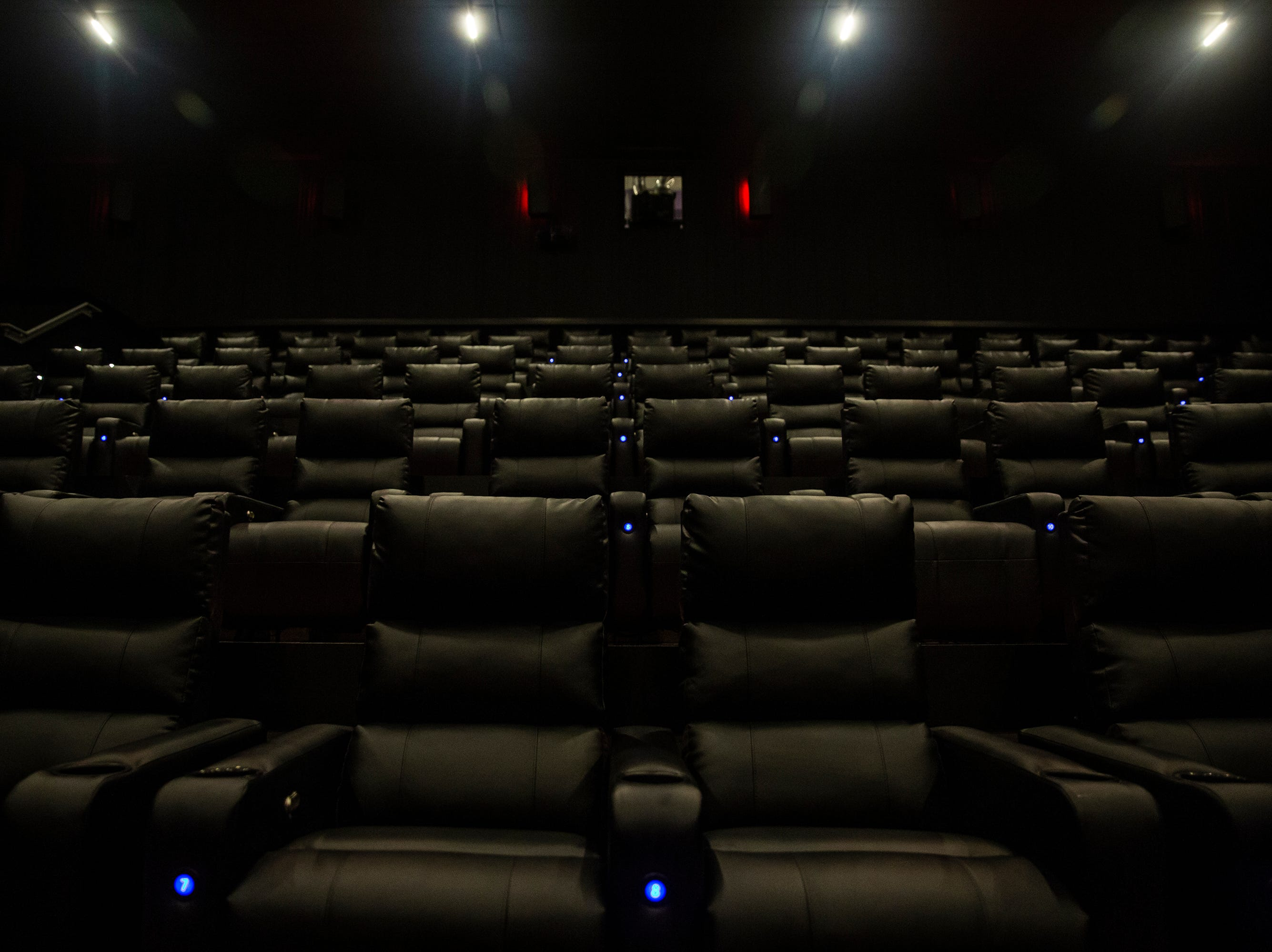 The two Grand Screens at B & B Ankeny 12 & B-Roll Bowling each seat more than 200 people and feature programable dive lighting, immersive surround sound and the largest movie screens in the country, on Sunday, Dec. 9, 2018, in Ankeny.