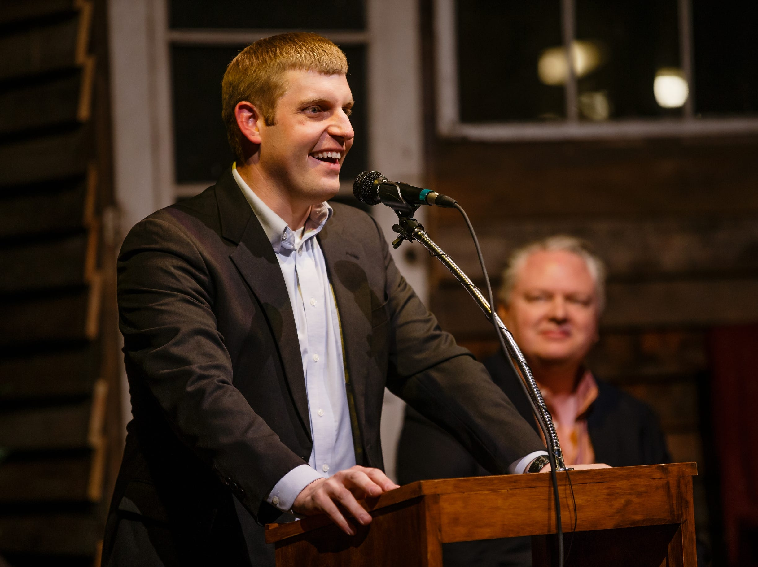 Mechanical Engineer and Jefferson business owner Chris Deal speaks to a crowd at the History Boy Theater on Saturday, Dec. 8, 2018, in Jefferson. The event was to announce Pillar's partnerships with Silicon Valley leaders in an effort to bring rural jobs to Iowa.
