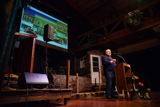 Microsoft Chief Technology Officer Kevin Scott speaks to a crowd at the History Boy Theater on Saturday, Dec. 8, 2018, in Jefferson. The event was to announce their partnership with Pillar Technology and other Silicon Valley leaders in an effort to bring rural jobs to Iowa.