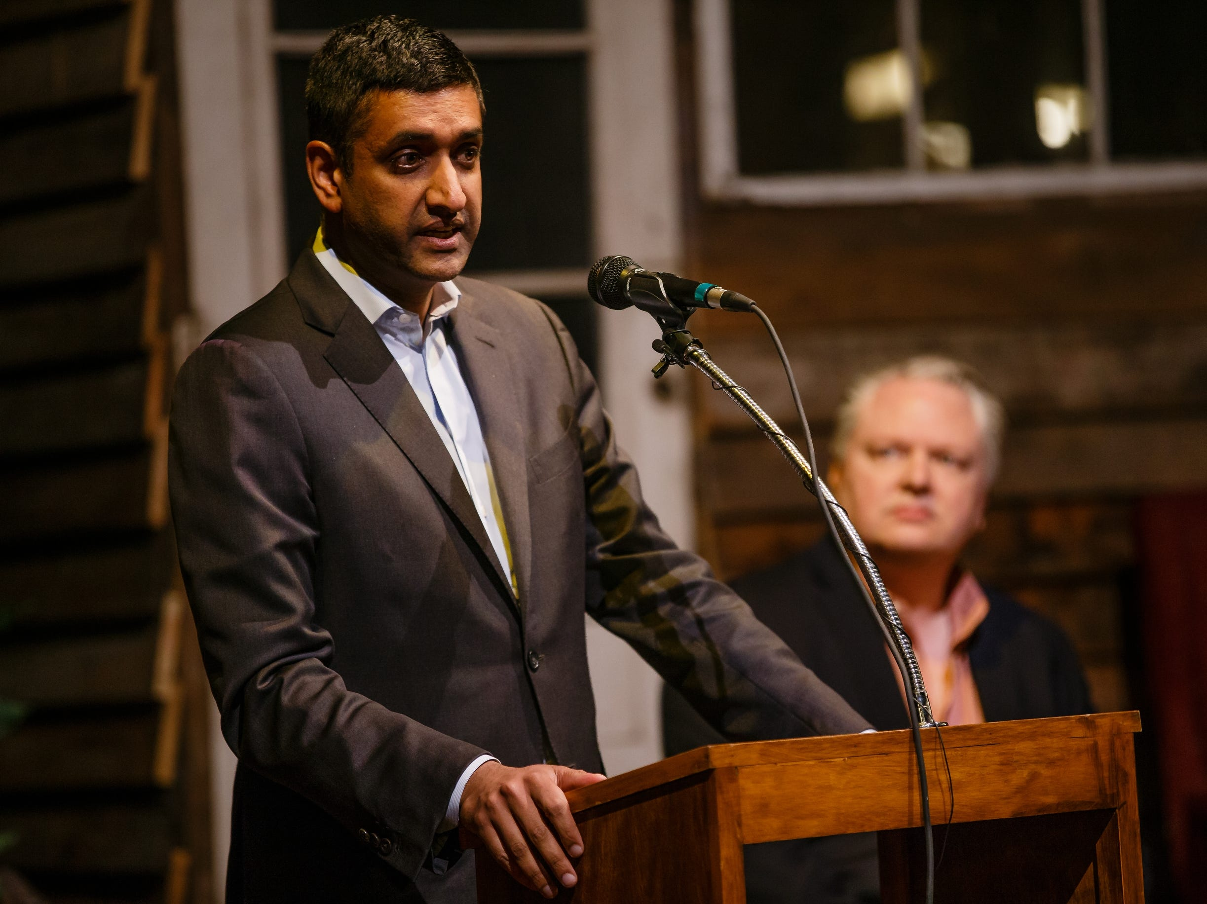 U.S. Rep. Ro Khanna speaks at the History Boy Theater on Saturday, Dec. 8, 2018, in Jefferson as tech leaders from Silicon Valley announce partnerships with Pillar Technology in an effort to bring rural jobs to Iowa. What's in it for them? Tech companies need talented workers and lower-cost space outside the East and West coasts, and this initiative could help provide a solution.