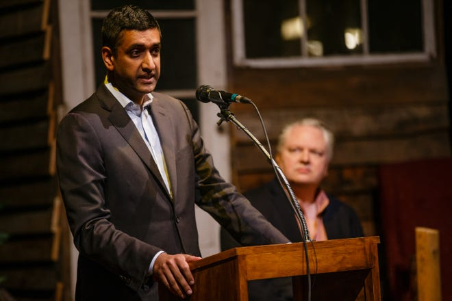 U.S. Rep. Ro Khanna speaks at the History Boy Theater on Dec. 8, 2018, in Jefferson as tech leaders from Silicon Valley announce partnerships with Pillar Technology in an effort to bring rural jobs to Iowa.