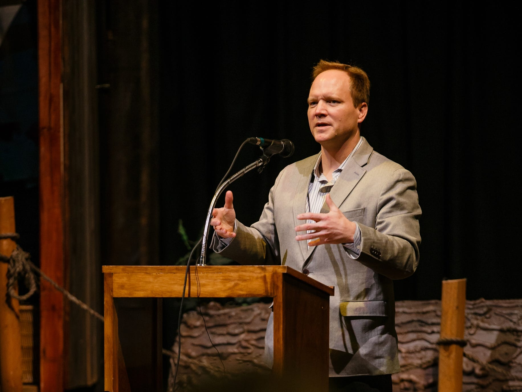 Greg Sands, Managing partner of Costanoa Ventures, speaks to a crowd at the History Boy Theater on Saturday, Dec. 8, 2018, in Jefferson. The event was to announce their partnership with Pillar Technology and other Silicon Valley leaders in an effort to bring rural jobs to Iowa.