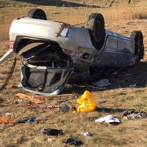 Sleepy driver causes I-94 rollover crash that injured 4, Michigan State Police say