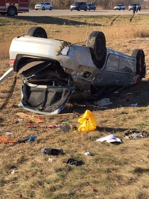 A rollover crash with four people inside happened around 9 a.m. Saturday, Dec. 8, 2018.