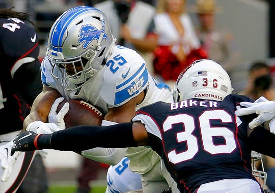 Detroit Lions running back Theo Riddick runs as Arizona Cardinals strong safety Budda Baker makes the stop during the first half Sunday, Dec. 9, 2018, in Glendale, Ariz.