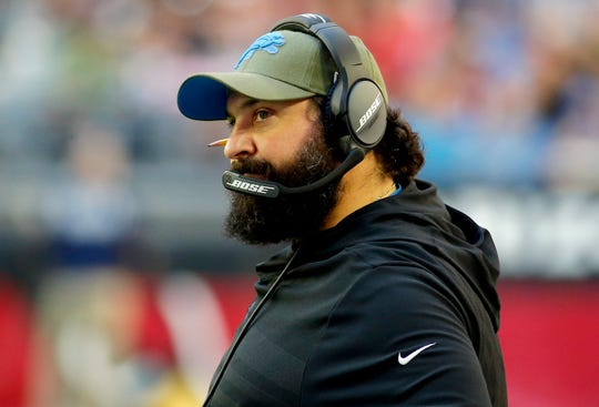Detroit Lions head coach Matt Patricia watches during the first half of NFL football game against the Arizona Cardinals, Sunday, Dec. 9, 2018, in Glendale, Ariz.