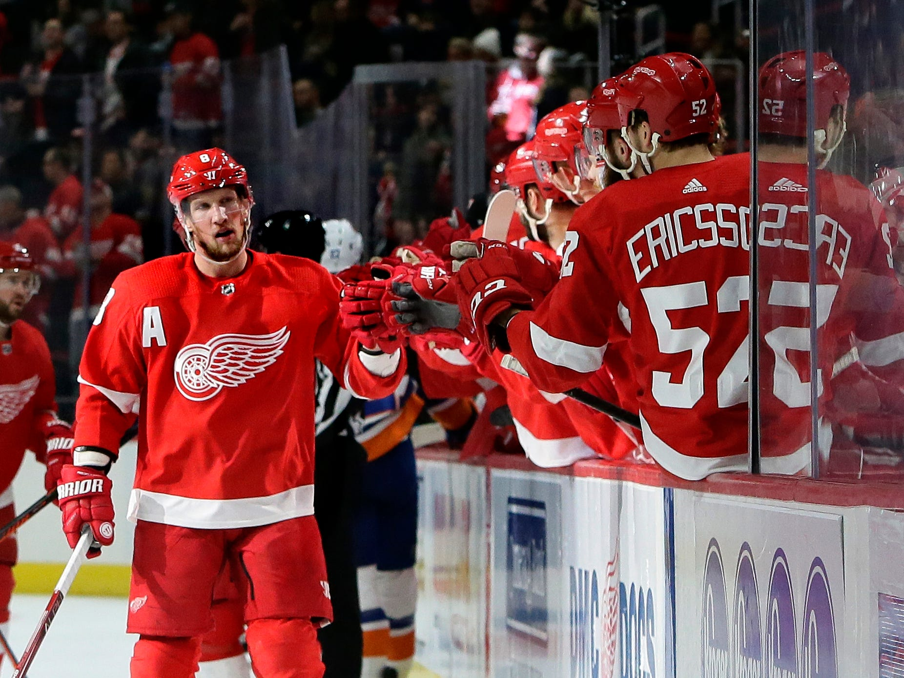 Detroit Red Wings left wing Justin Abdelkader celebrates his first period goal.