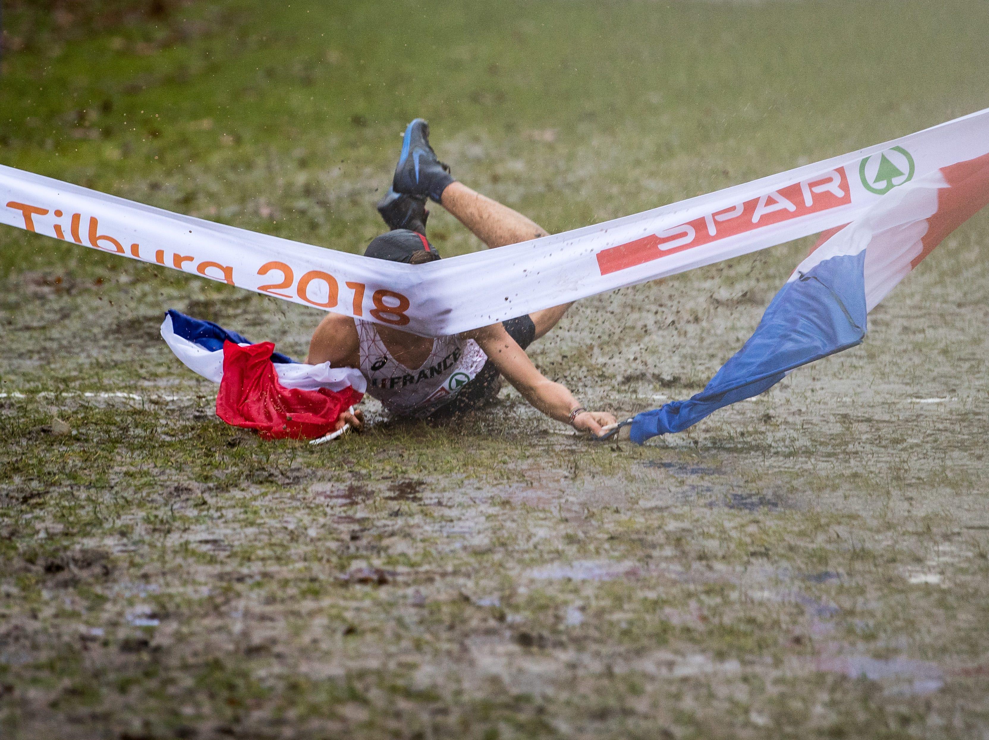 Jimmy Gressier of France, celebrates after winning the U23 Men's race of the SPAR European Cross Country Championships on December 9, 2018 in Tilburg, Netherlands.
