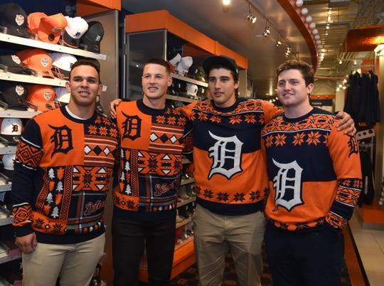 Detroit Tigers organization players, from left, Franklin Perez, Matt Manning, Alex Faedo and Casey Mize attend an autograph session Comerica Park on Saturday.