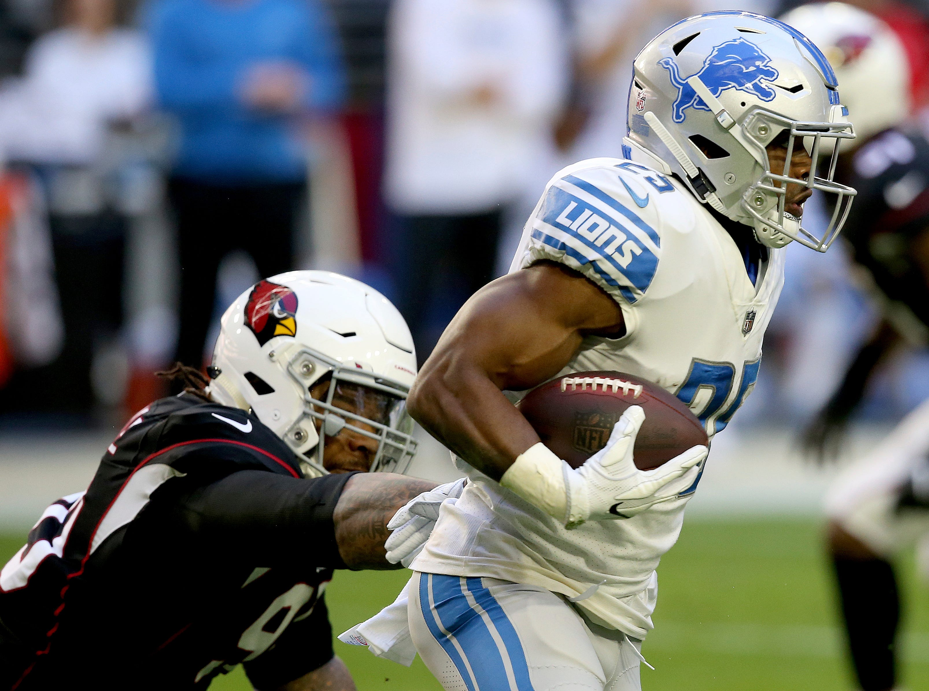 Detroit Lions running back Theo Riddick (25) runs as Arizona Cardinals defensive end Cameron Malveaux defends during the first half.