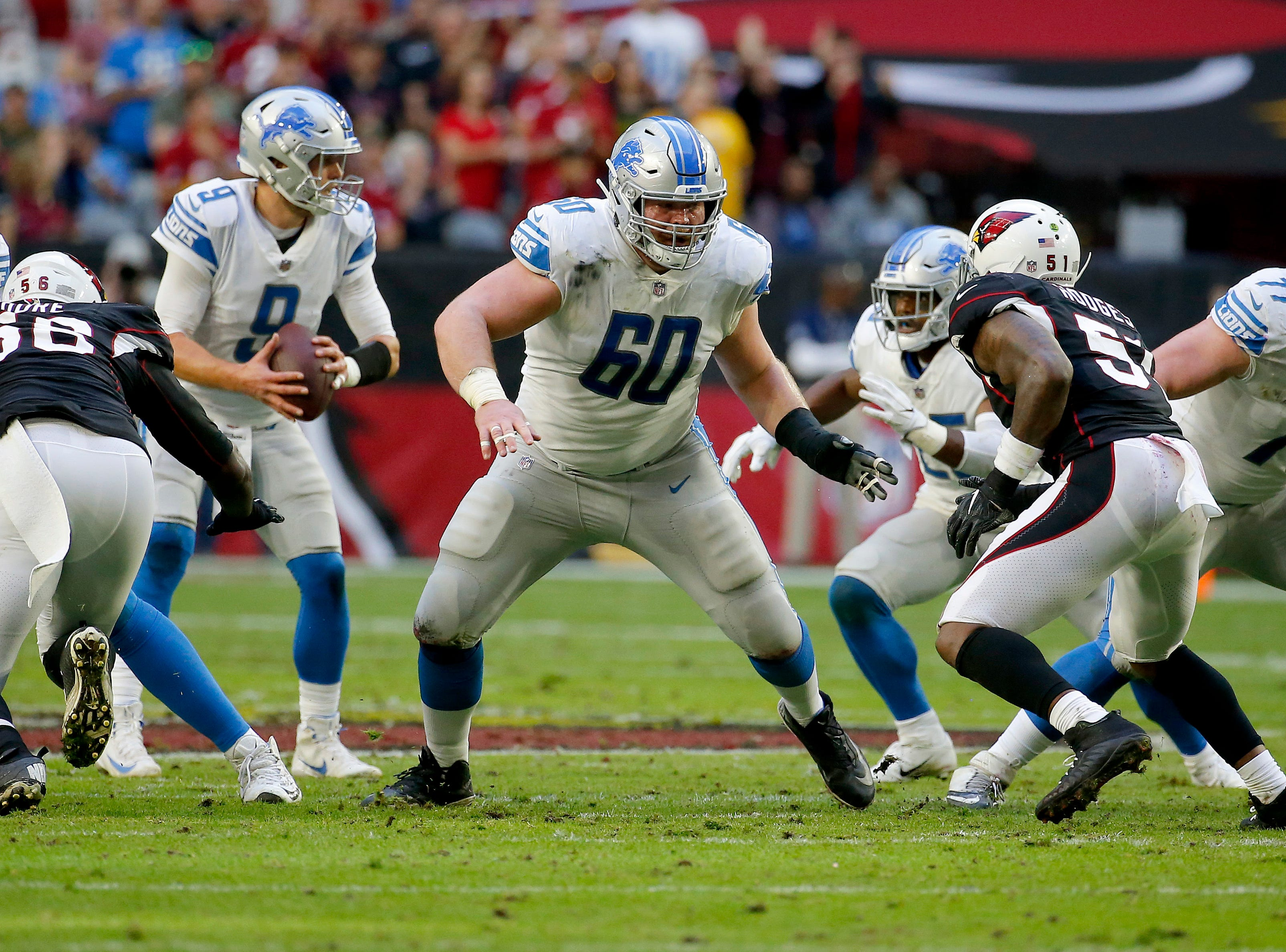Detroit Lions center Graham Glasgow (60) defends against the Arizona Cardinals during the first half.